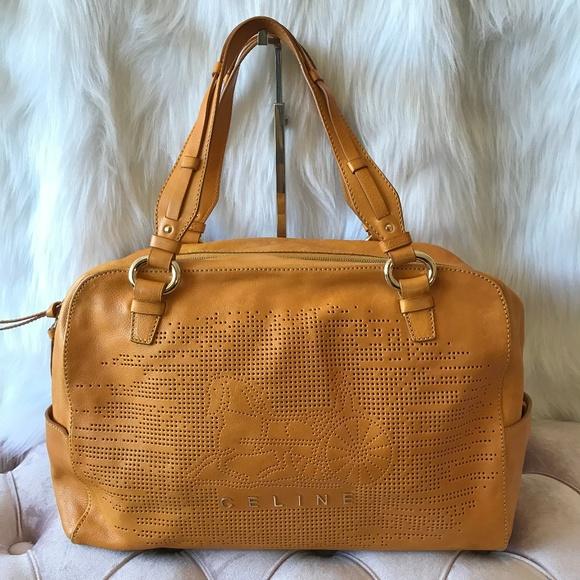 Celine Yellow Leather Boston Bag  82c06c9eaa3bb